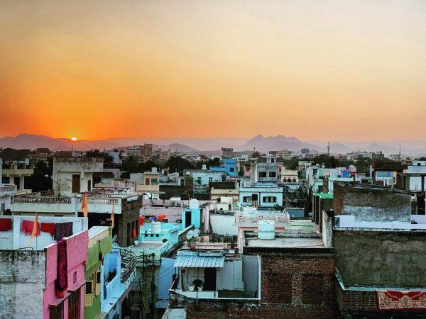Un coucher de soleil à Udaipur