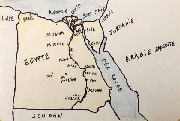 La carte de l'Egypte