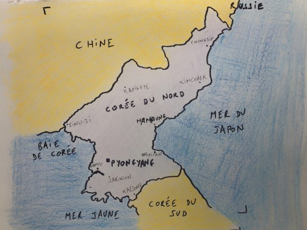 La carte de la Corée du Nord