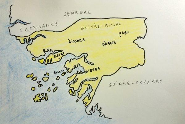 La carte des plus grandes villes de Guinée-Bissau