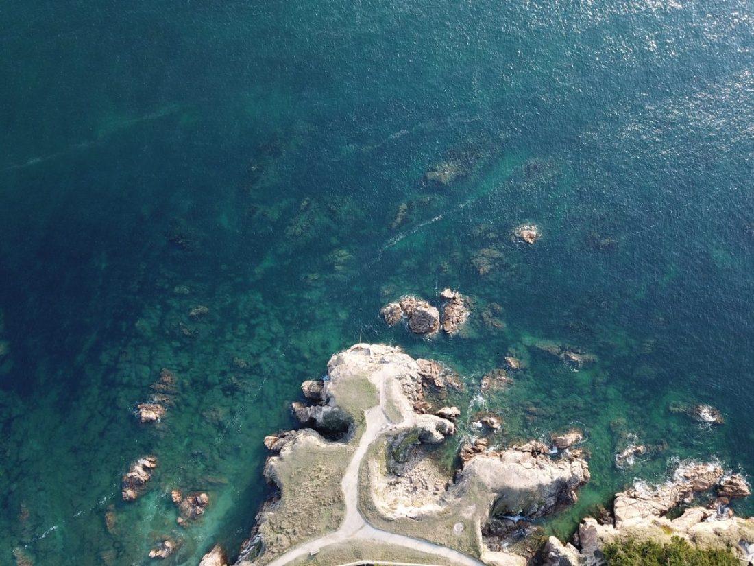La côte sauvage du Pouliguen vu du ciel