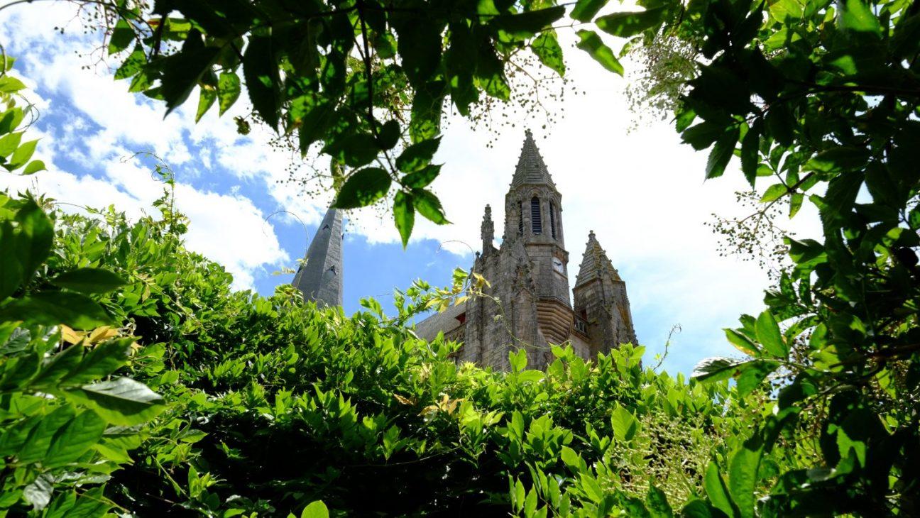 Le clocher de la colégiale Saint-Aubin