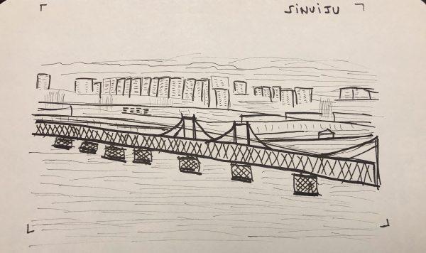 Sinuiju, le pont et la ville