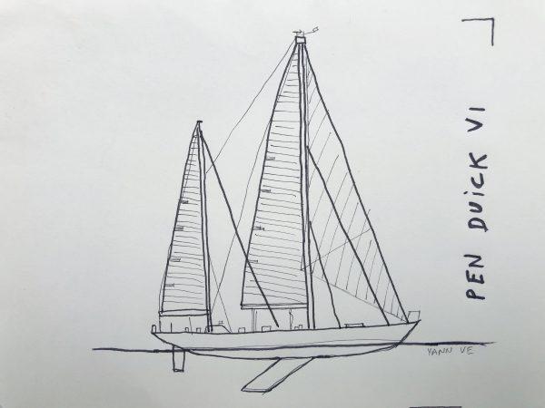 Croquis du voilier Pen Duick VI