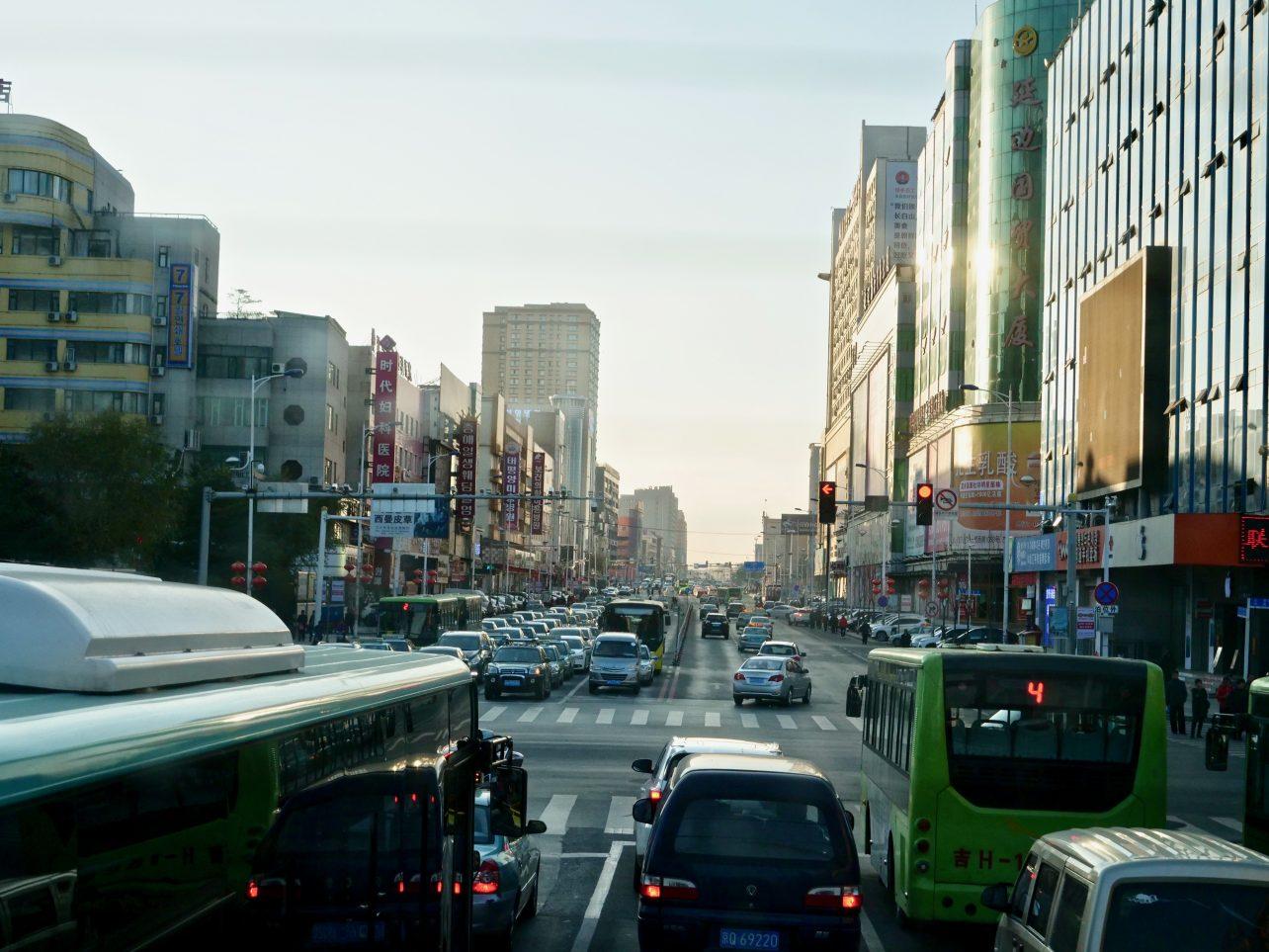 Dans les rues de Yanji en fin de journée
