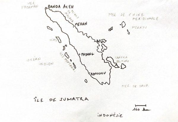 La carte de l'île Indonésienne de Sumatra