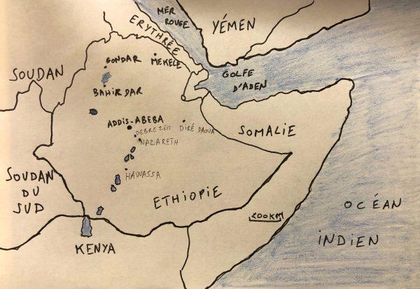 La carte des plus grandes villes d'Ethiopie