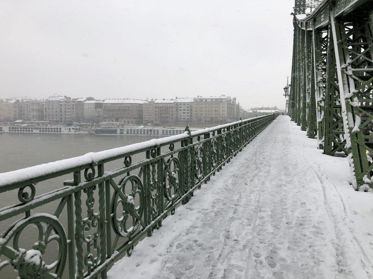La vue sur la rive gauche de Budapest depuis le pont de la Liberté