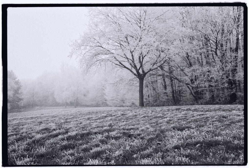 Le givre en hiver sur les routes vers la Bretagne