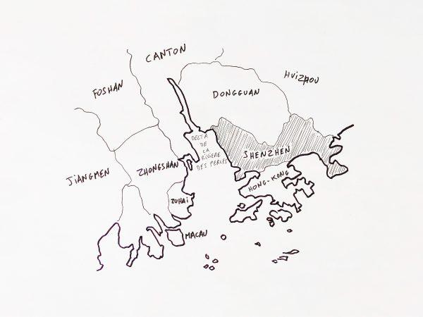 La carte de la région de Shenzhen en Chine