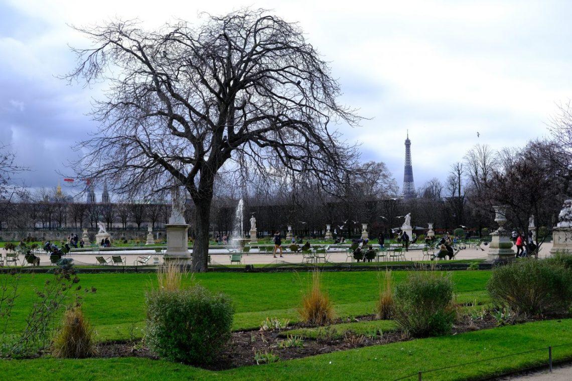 Le jardin des Tuileries en hiver dans le premier arrondissement de Paris