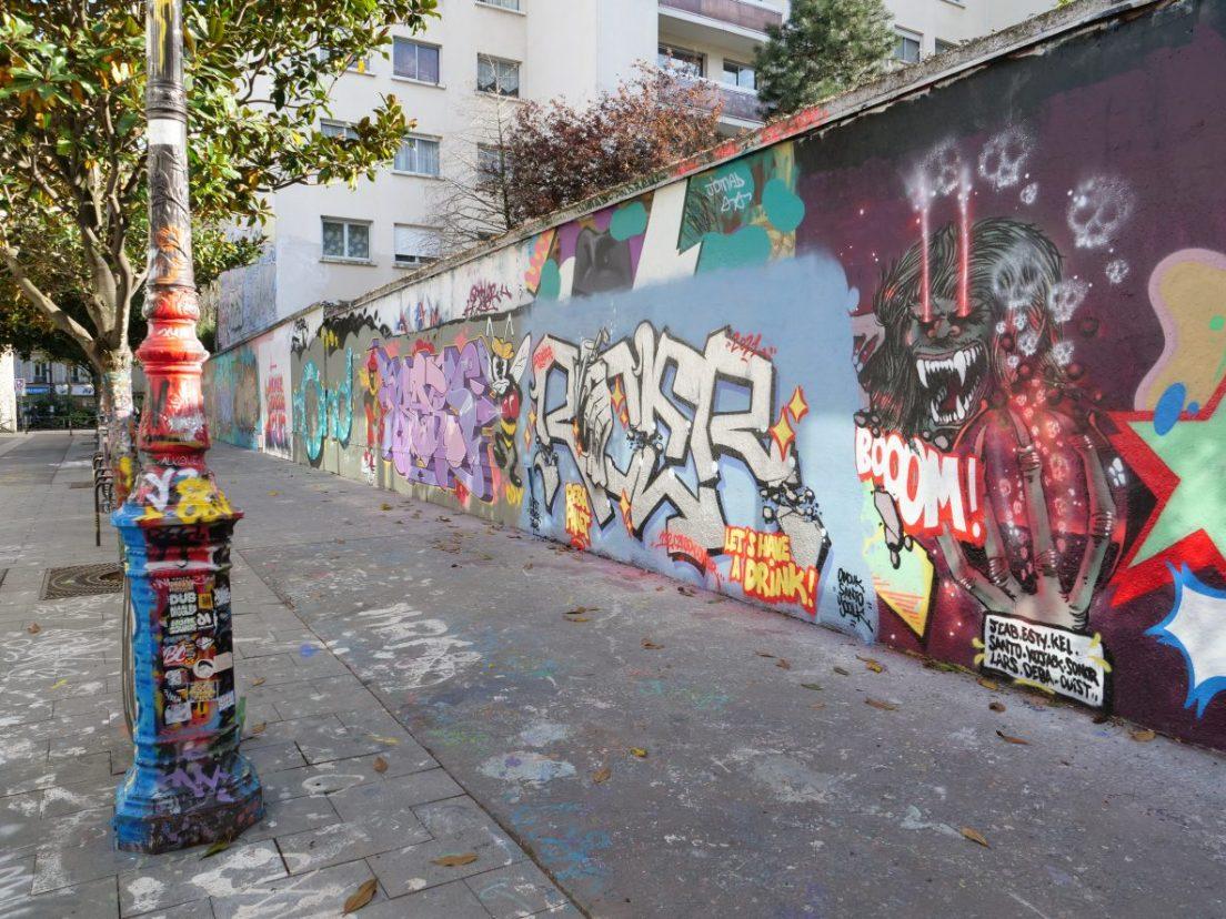 Le grand mur d'expression de la rue Henri Noguères