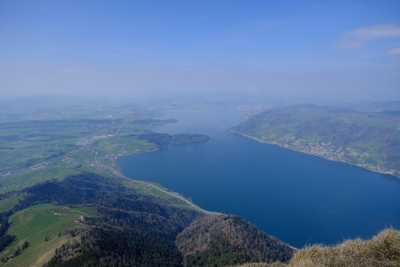 La vue du Mont Rigi sur le lac de Zoug