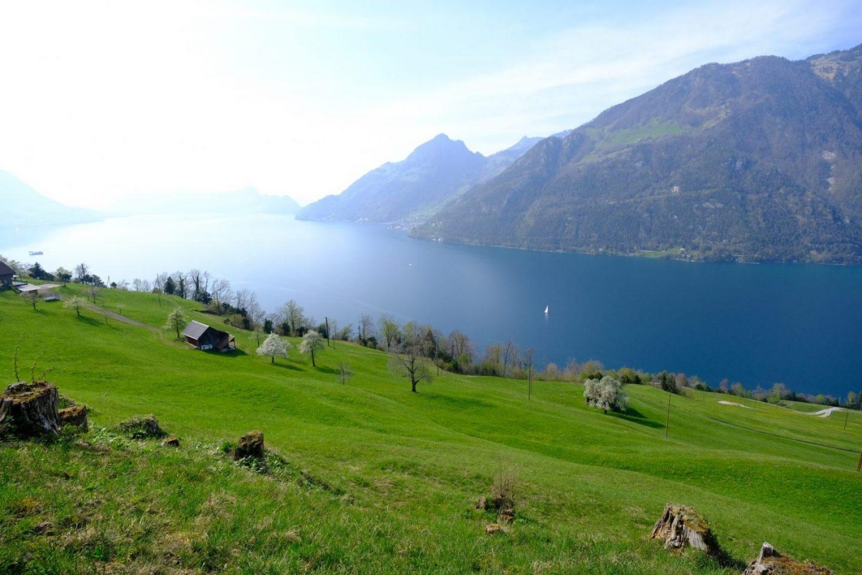 Les doux paysages du lac des 4 cantons en Suisse