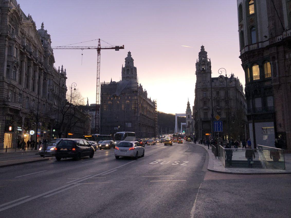 Un joli coucher de soleil sur Budapest