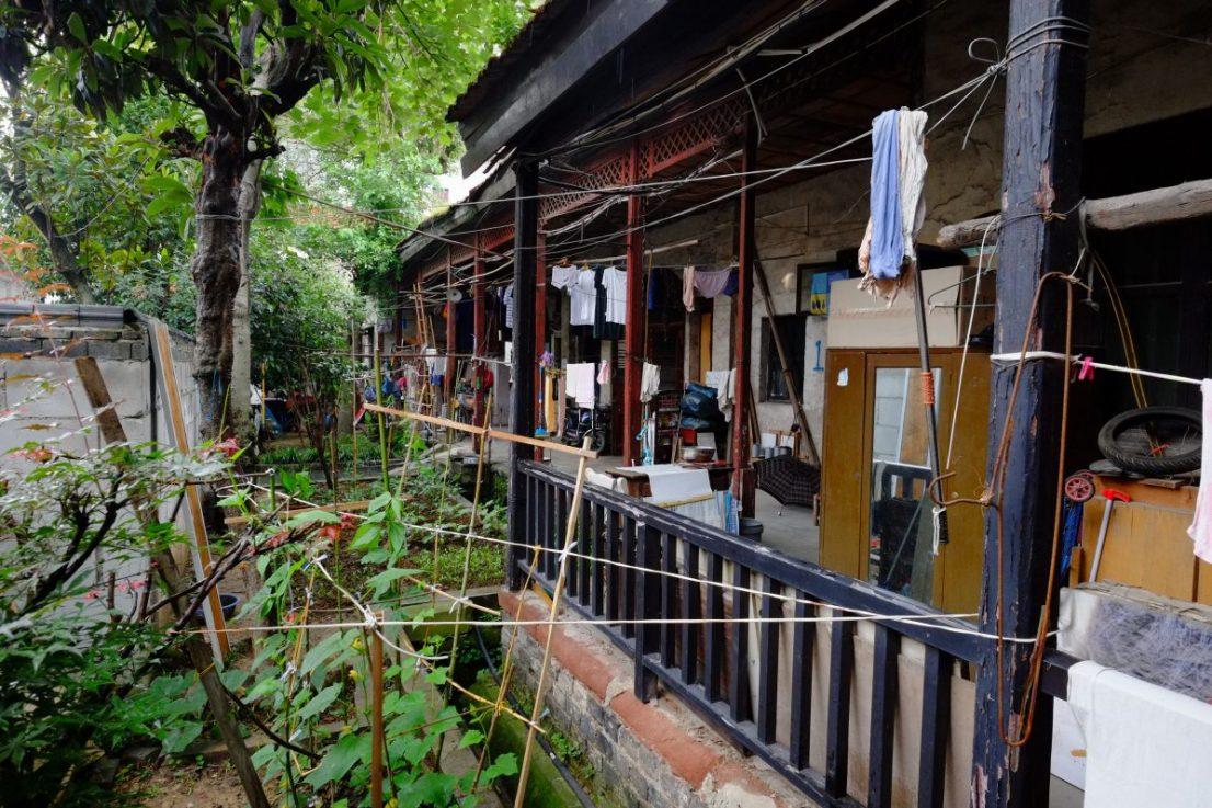 Les façades des petites maisons du quartier historique de Tan Hualin