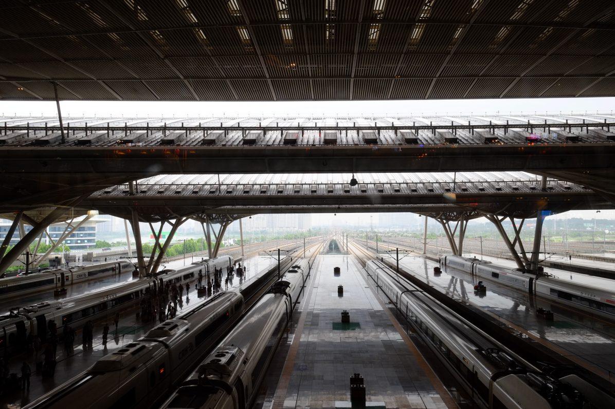 Super structure la gare de Wuhan, l'une des plus grandes gares du Monde