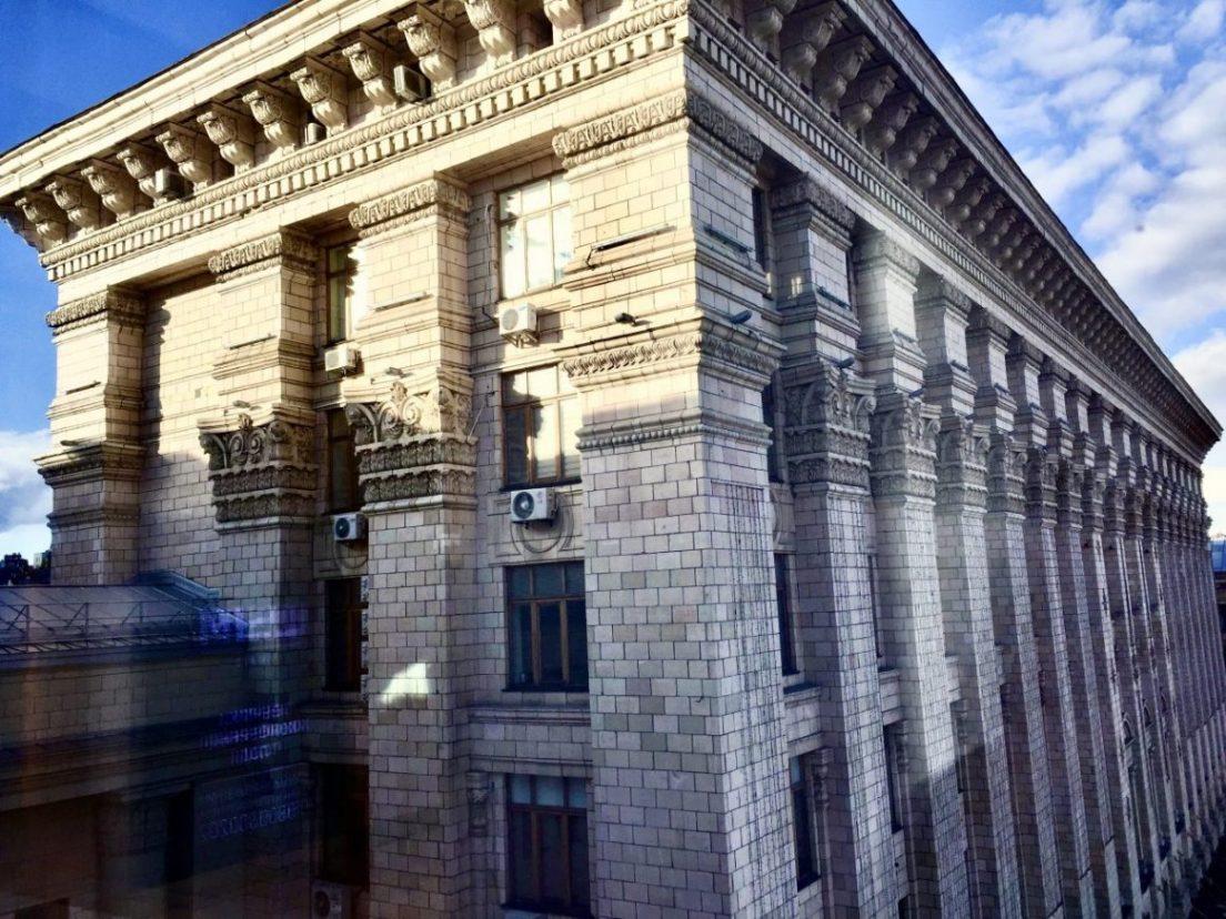 Les façades de l'avenue Khreshchatyk, les champs Elysées ukrainiens
