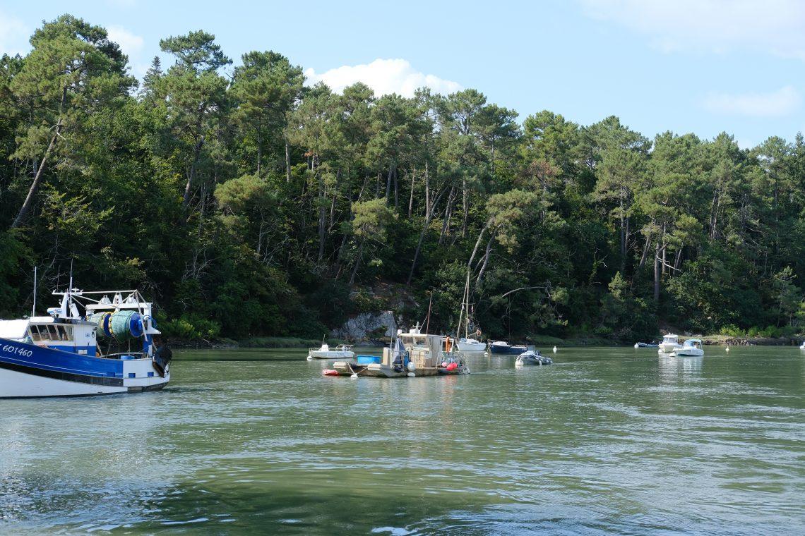 Quelques bateaux de pêcheurs dans la rivière du Bono